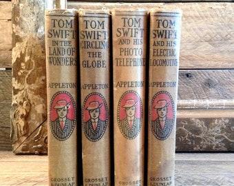 SALE Tom Swift Books, Victor Appleton, 4 Vol., Antique Books, Vintage Books, Science Fiction, Electric Locomotive, Picture Telephone, 2 More
