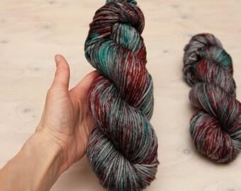 Hand dyed yarn, Speckled yarn, worsted yarn, superwash merino, wool yarn, blue yarn, red yarn, grey yarn, purple yarn. merino yarn,