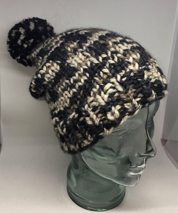 Chunky knit variegated winter slouchy hat. Adult size cozy and warm.