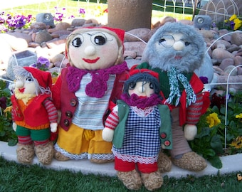 A Family of Vintage Swedish Tomten Dolls