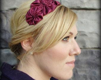 Burgundy Headband, Flower Headband for Girls and Adult