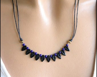 "Navy Blue and black necklace ""custom"""