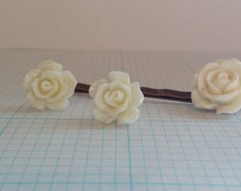 White Rose Earring & Hairpin Set