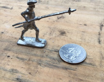 18th Century Pewter Toy Soldier - Soldier Standing with Pike