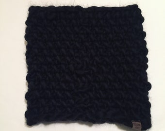 Black Chunky Knitted Cowl | Women's Cowl | Chunk Knit | Wool | Scarf | Infinity Scarf