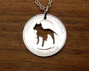 Smiling pit bull necklace in silver pit bull jewelry pit bull necklace pit bull jewelry dog key chain canine silhouette cut aloadofball Gallery
