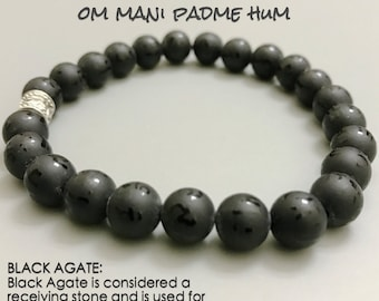 Yoga Bracelet ॐ Om Mani Padme Hum Mantra Wheel: Black Agate Yoga Mala | Boho Stacks | Healing Karma Love | OOAK Organic Jewelry | Men Women