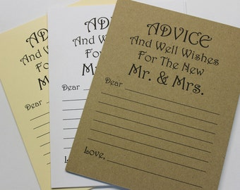 Lot de 20 conseils carte - souhait carte - vœux de mariage Conseils mariage - mariée douche de mariage - mariée et le marié M. & Mme carte souhait Tag
