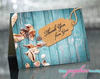 Thank You card design pre-made personalize with your name, invitation, pre-made card, Thank you card with seashells, stationery, custom card