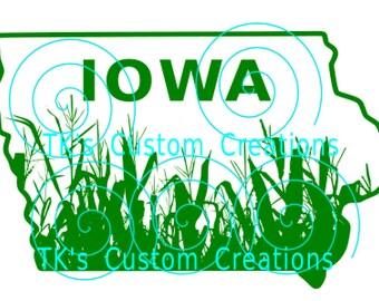 State Outline - Iowa w/Corn Sil