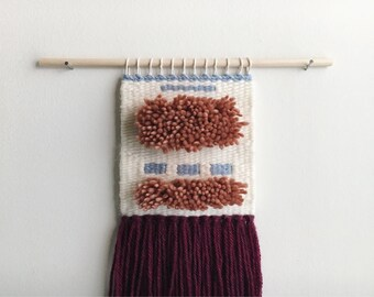 handmade woven wall hanging // shag