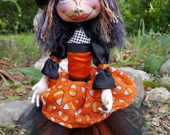 Halloween Witch - Cloth Doll - Cloth Art Doll - Witch Art Doll - Halloween Doll - Art Doll - Fiber Art Doll - Fabric Art Doll - Fabric Doll