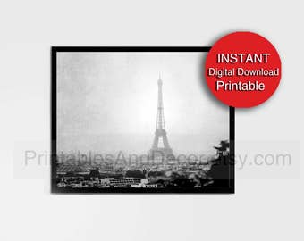 Printable Paris Photography Black and White Eiffel Tower Print Digital Download 5x7, 8x10, A4, 11x14, 16x20, A3