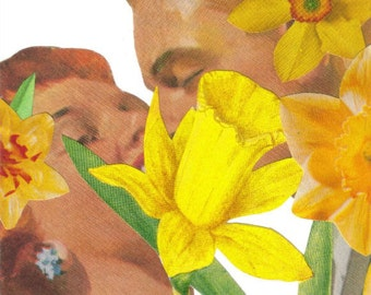 Original Collage, Contemporary Floral Art, Yellow Daffodil Artwork, Lovers Kiss Art, Kissing Couple, Romantic Wall Art