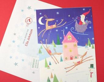 Santa In Sleigh Advent Calendar And Envelope