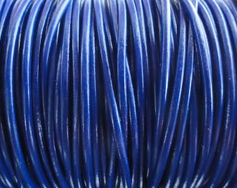 10 Yard Increments 2mm Royal Blue Genuine Leather Cord
