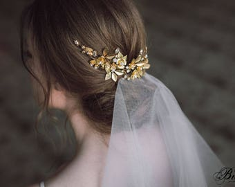Wedding Headpiece, Gold Leaf Headpiece, Woodland, Grecian Hairpiece, Bridal Back Headpiece, Wedding Hair Vine, Bridal Halo- ANTHEIA