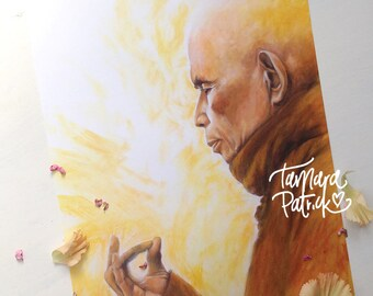 A4 Artprint of 'Sun' painting featuring the portrait of Thich Nhat Hanh