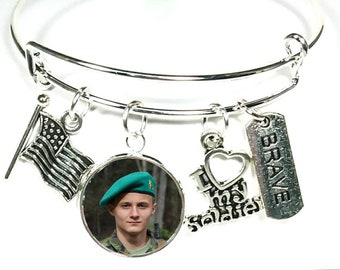 Personalized Military Bracelet, Charm Bracelet, Military Jewelry, Army, Navy, Airforce, Marines, Military, Soldier, United States