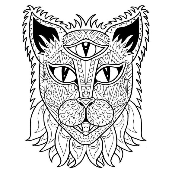 Cat Coloring Page Adult Coloring PDF Anti Stress Coloring