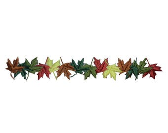 ID 1387 Fall Leaves In Row Patch String Leaf Autumn Embroidered Iron On Applique