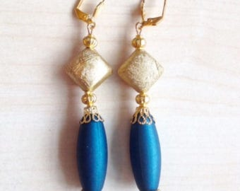 Teal and gold long earrings