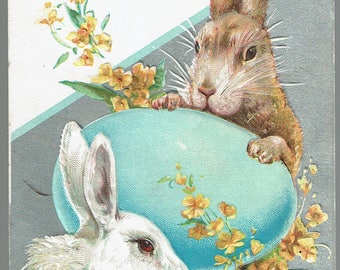 EASTER Bunny Rabbit and Blue Egg  Yellow Flowers Embossed POSTCARD Antique 1911
