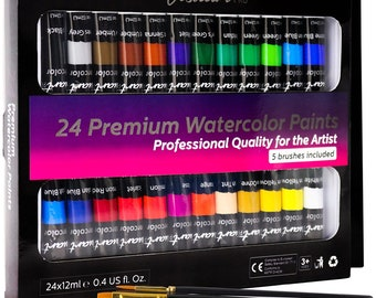 Watercolor Paint Set With 24 Premium Watercolor Paint Tubes And 5 Brushes