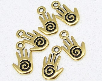 Spiral Hand Charms - TierraCast Antique Gold Charms - 14mm x 8mm Tierra Cast Gold Hand Drops (P200)