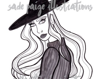 Inktober Day 24, Blind Witch, Wiccan, Wiccan Art, Witch Art