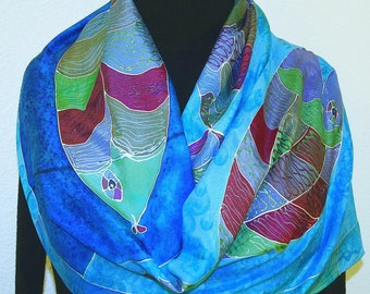 Blue Fish Design Scarf Hand Painted Handmade Silk Shawl OCEAN BEAUTIES, by Silk Scarves Colorado. Select Your SIZE! Birthday, Christmas Gift