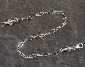 7 Inch Crystal Necklace Extender - Sterling Silver - Figure Eight Chain