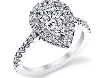 GIA Certified 2 ctw Pear Shape Diamond Halo Engagement Ring 18k White Gold