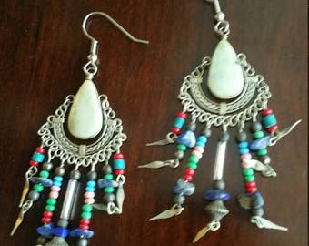 Mixed stone and material tribal earrings