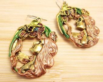 Garden Fairy Mother Earth Hand Painted Oval Hoop Earrings Enamel