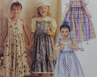 Sundress Pattern Easy Mccalls 8071 Girls Long Jumper Sundress Blouse Pattern Cute Sundress  Childrens Girls Size 2 3 4  Spring Sundress