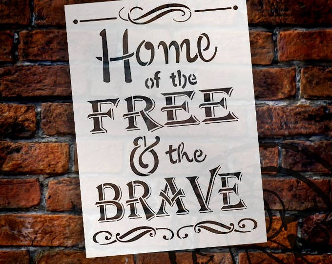 """Featured listing image: Home of the Free - Word Stencil - 10"""" x 14"""" - STCL758_2"""