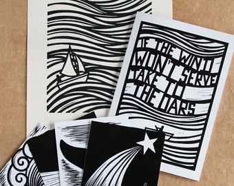 Lino Print, Book & Postcards: Sailing no.1 Linocut Print + A Copy of the new 'If The Wind Won't Serve Take To The Oars' Zine + Postcards