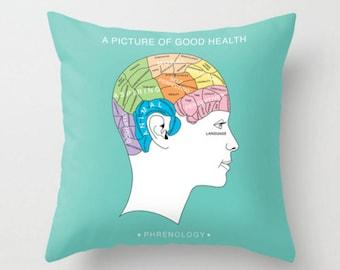 Decorative Pillow, Phrenology Cushion, Modern Turquoise Throw Pillow, Words Cushion, Brain Decor Cushions, Woman Head Pillow,  Mr and Mrs