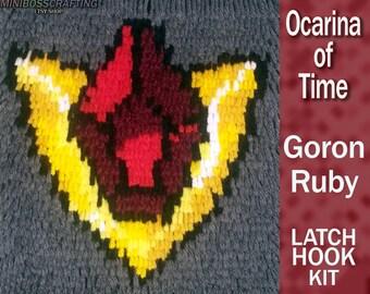 Goron Ruby - Spiritual Stone of Fire - Legend of Zelda: Ocarina of Time - DIY Latch Hook Kit 8*9 Inches