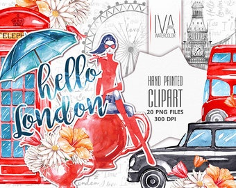 Spring Clipart, London Clipart, Travel watercolor, London Bus, Big Ben watercolor, Scrapbooking, Fashion Clipart