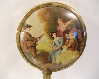 Victorian French Limoges Scene Antique Hand Held Mirror