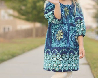 Back to School  SEW GROOVY Peasant Dress Pattern PDF Sewing Pattern Sizes 6 Months - 14 Child - A Line Flattering Fit