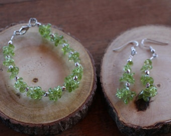 Green and Silver Beaded Bracelet and Earring Set