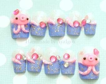 Summer nails, octopus nail, tako, kawaii nail, blue, nail set, cute nail, deco nail, Harajuku nail, funny nail art, Japanese 3D nails, squid