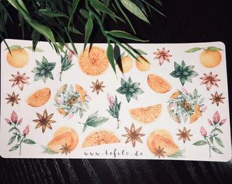 Orange, mint & cinnamon stickers