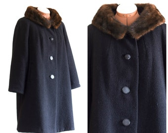 1960s black wool coat with fur collar
