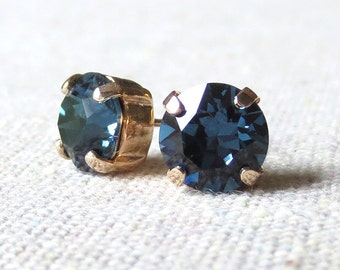 Swarovski Crystal Dark Navy Blue Earrings, Rhinestone Small Round Post Earrings Studs, Rose Gold Earrings, Bridesmaids Ask Gifts