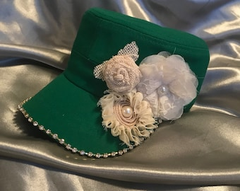Cadet Hat, Green Hats, bling Hats, Bling Hat, Military Hat, Womens Hats, Sworovski Crystal Hat, Hats, Flower Hats,