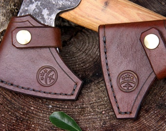 Totally hand-made brown & brass hand-stitched leather sheath for Gransfors Bruks Wildlife Hatchet